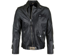 Lederjacke Leather Biker Patches schwarz