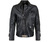 Lederjacke Leather Biker Patches schwarz
