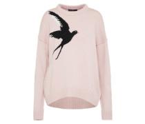 Strickpullover mit Vogelmotiv rosa / schwarz