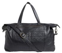 Geprägte Leder-Reisetasche schwarz
