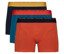 Basic-Boxershorts 3er-Pack blau / rot / schwarz