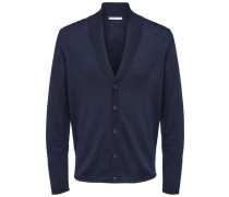 Strick-Cardigan Merinowoll-Mix blau