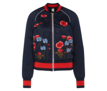 Bomberjacke mit floralen Stickereien nachtblau / rot