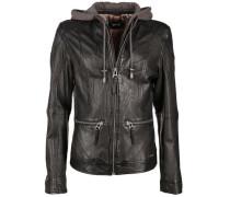 Lederjacke mit stylische Kapuze ' Brayford ' schwarz