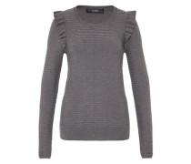 Rippstrick-Pullover mit Rüsche grau