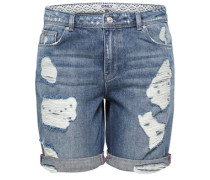 Destroyed Bermuda-Jeansshorts blue denim
