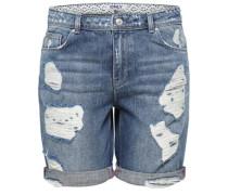 Destroyed Bermuda-Jeansshorts blau