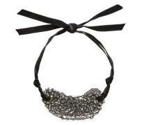 Perlen-Collier mit Samtband schwarz