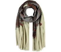 Baumwoll-Schal beige / braun / grau
