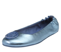 Ballerinas in Metallic-Optik blau