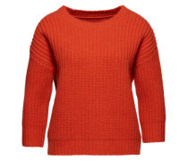 Strickpullover aus Wollmix orange