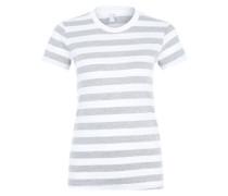 Basic-Shirt mit Rundhalsausschnitt grau / weiß