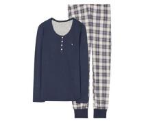 Schlafanzug 'Elonore Cas' navy / offwhite
