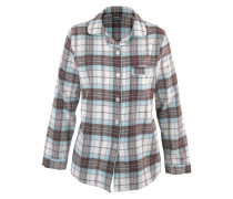 Flanellpyjama mit Knopfleiste & Hemdkragen mischfarben