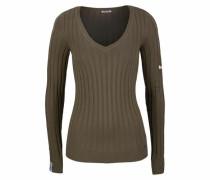 V-Ausschnitt-Pullover khaki