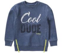 Sweatshirt für Jungen blaumeliert / kiwi