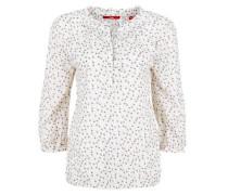 Gerüschte O-Shape-Bluse weiß
