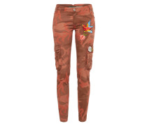 Cargohose mit Patches khaki / orange