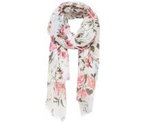 Bedruckter Schal grasgrün / rosa / weiß