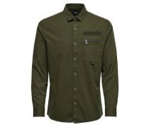 Detailliertes Langarmhemd grün