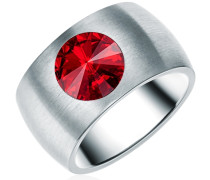 Ring Edelstahl Made With Swarovski Elements rot silber