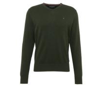V-Pullover mit Seide dunkelgrün