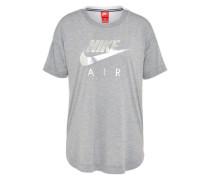 T-Shirt mit Label-Print graumeliert / silber / weiß