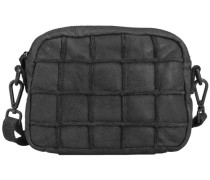 Quadratschädelchen Umhängetasche Leder 21 cm schwarz