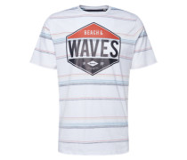 T-Shirt 'printed Stripe Tee' blau / rot / weiß
