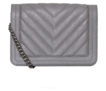 Stepp-Tasche mit Kettenhenkel grau