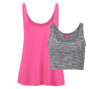Top und Bustier (2-tlg.) grau / graumeliert / pink