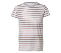 Rundausschnitt T-Shirt braun / weiß