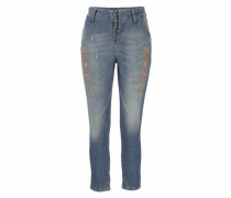 'p00R' Boyfriend-Jeans blue denim