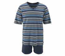 Pyjama kurz navy / grau