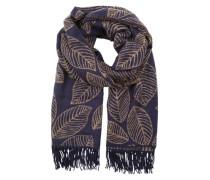 Fransiger Schal mit Blattmuster blau