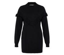 Oversize-Pullover mit Rüsche schwarz