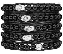 Armband Echtleder und Achat Totenkopf