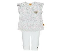 Set T-Shirt mit Flügelarm + Capri Leggings mischfarben / weiß