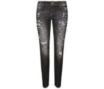 Jeans mit Perlen-Applikationen schwarz