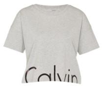 Cropped Shirt mit Logo-Print grau