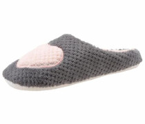 Pantoffel dunkelgrau / rosa