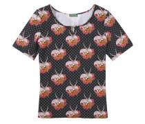 Trachtenshirt mit dekorativer Brosche rosa / schwarz