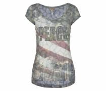 T-Shirt 'Miami' taubenblau / grün / pastellrot / naturweiß