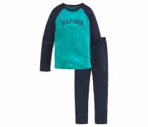 Jungs Pyjama lang navy / türkis / weiß