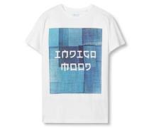 T-Shirt mit Print blau / weiß