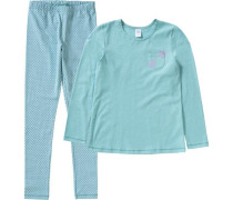 Schlafanzug für Mädchen blau / jade