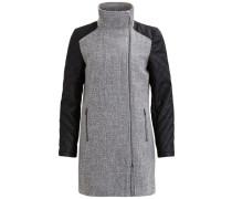 Hochgeschlossener Mantel grau / schwarz