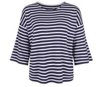 Shirt 'fleece Stripe' navy / weiß