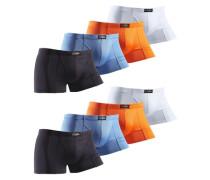 Baumwoll-Boxer (8 Stck.) blau / orange / schwarz / weiß