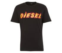 Shirt mit Logo-Applikation rot / schwarz